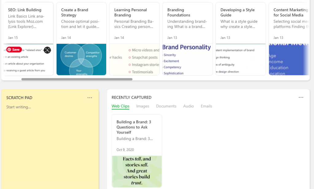 screenshot notes from linkedin learning courses