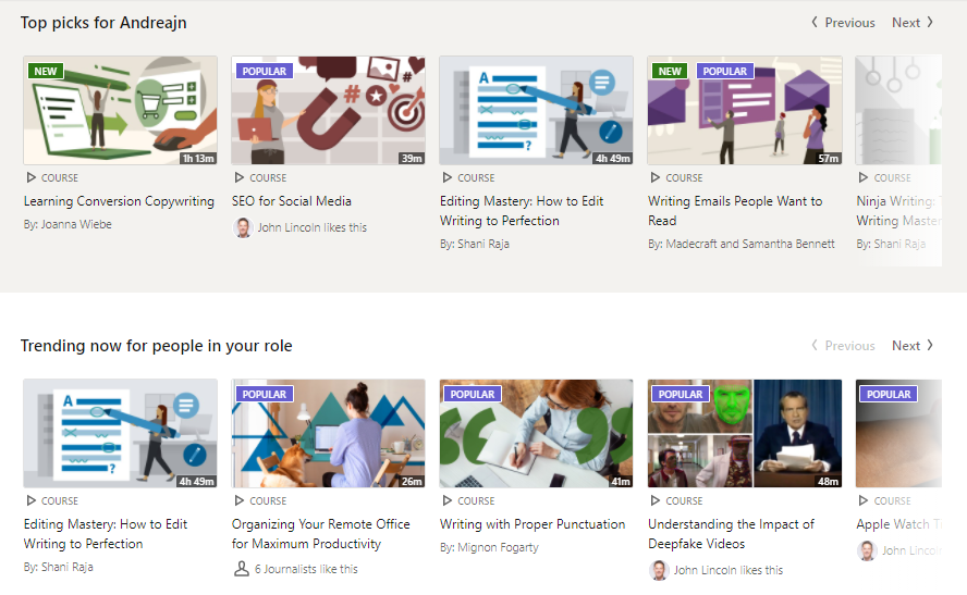 linkedin learning courses with personalized recommendations