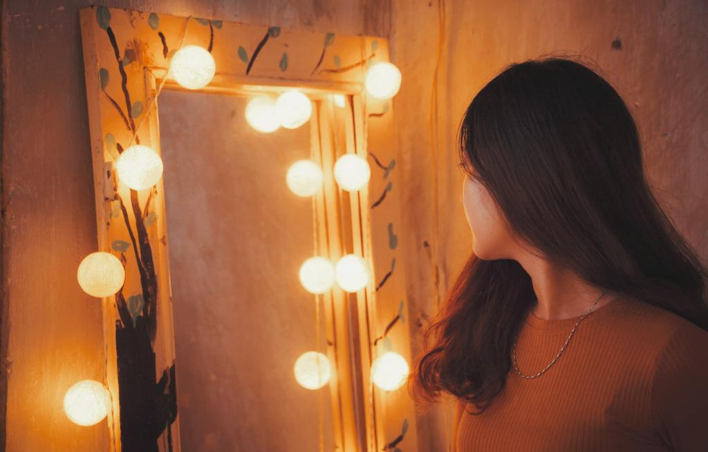 a girl looking into the mirror, finding your ikigai